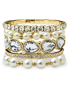 Accessories Stone and Imitation Pearl Collection Bracelet Set