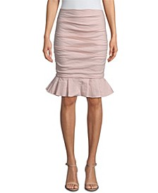 Ruched Ruffle-Hem Skirt