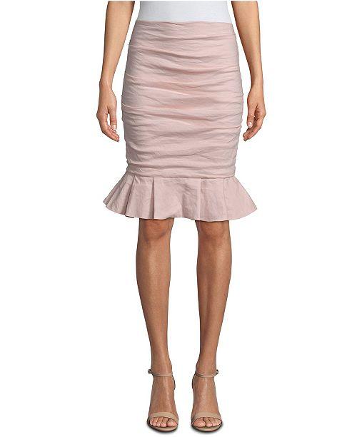 Nicole Miller Ruched Ruffle-Hem Skirt