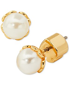 Gold-Tone Imitation Pearl Stud Earrings
