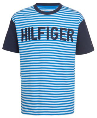 Big Boys Mark Colorblocked Stripe Embroidered Logo T-Shirt
