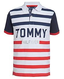 Big Boys Colorblocked Stripe Logo Polo Shirt