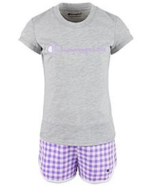 Little Girls 2-Pc. Classic Script Logo T-Shirt & Gingham French Terry Shorts Set