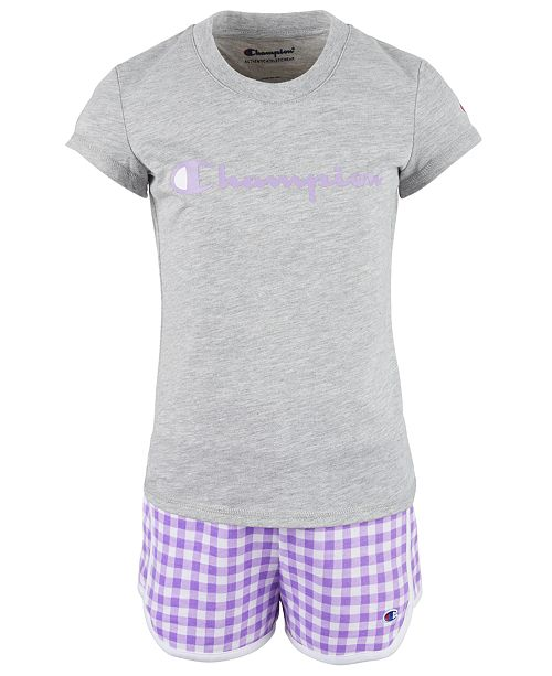 Champion Little Girls 2-Pc. Classic Script Logo T-Shirt & Gingham French Terry Shorts Set