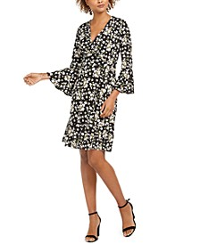 Petite Bell-Sleeve Wrap Dress