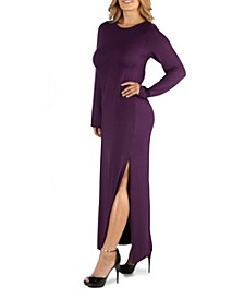 Form Fitting Long Sleeve Side Slit Plus Size Maxi Dress