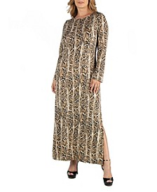 Snake Print Long Sleeve Side Slit Plus Size Maxi Dress