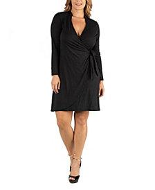 24Seven Comfort Apparel Knee Length Long Sleeve Plus Size Wrap Dress
