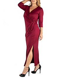 Ankle Length Side Slit Formal Plus Size Maxi Dress