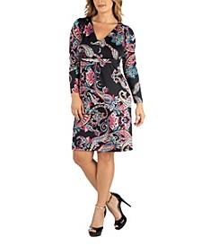 Paisley Print V-Neck Long Sleeve Plus Size Dress