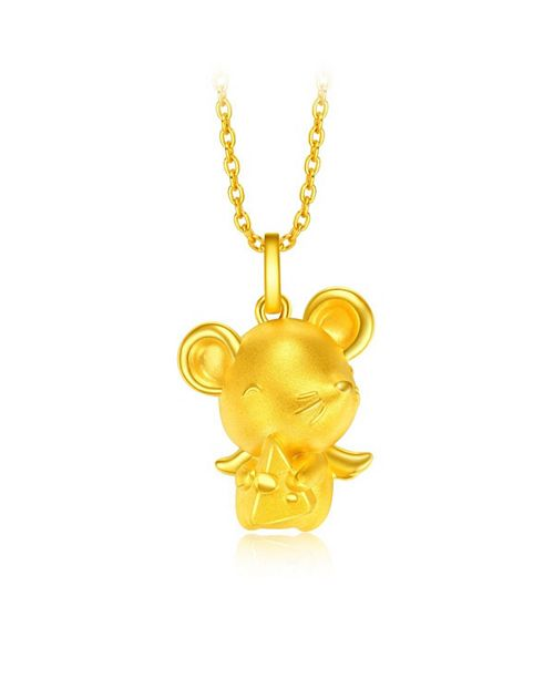 Chow Tai Fook Rat Charm Pendant in 24K Gold