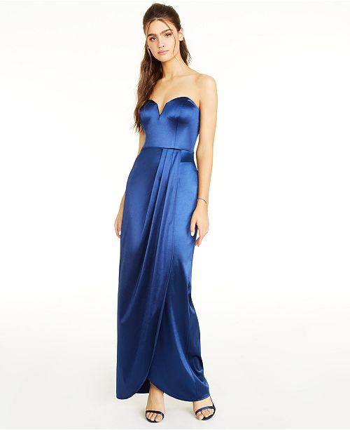 Teeze Me Juniors' Sweetheart-Neck Strapless Gown, Created for Macy's