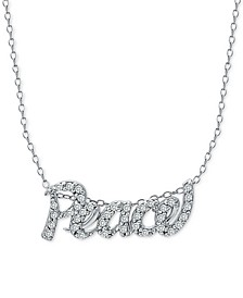 """Cubic Zirconia """"Peace"""" 18"""" Pendant Necklace in Sterling Silver"""