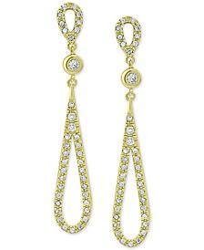 Cubic Zirconia Teardrop Drop Earrings in 18k Gold-Plated Sterling Silver