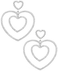 Pave Nested Heart Drop Earrings