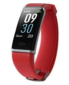 Womens Red Rubber Band Activity Tracker and Heart Rate Monitor Watch 19mm