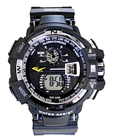Mens Black Rubber Strap Digital Multiple Display Sports Watch 51mm