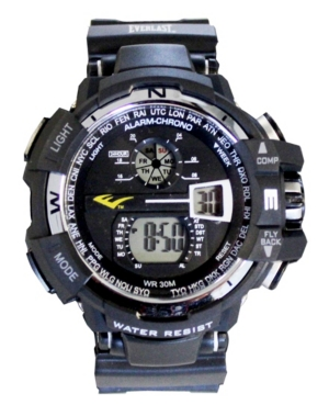 Everlast Mens Black Rubber Strap Digital Multiple Display Sports Watch 51mm In Silver And Black