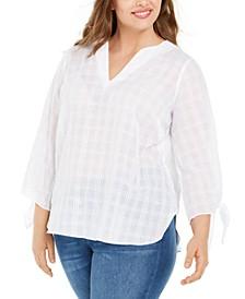 Plus Size Cotton Tie-Sleeve Gauze Top