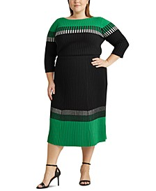Plus-Size Three-Tone Ribbed Skirt