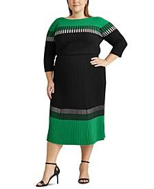 Plus-Size Three-Tone Ribbed Skirt