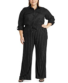 Plus-Size Pinstripe Wide-Leg Pants