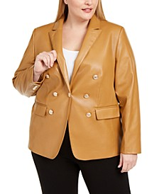 Plus Size Faux-Leather One-Button Blazer