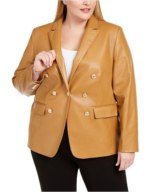 Calvin Klein Plus Size Faux-Leather One-Button Blazer