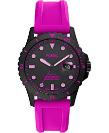Fossil Men's FB-01 Neon Pink Silicone Strap Watch 42mm