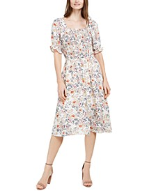 Petite Smocked Floral-Print Dress