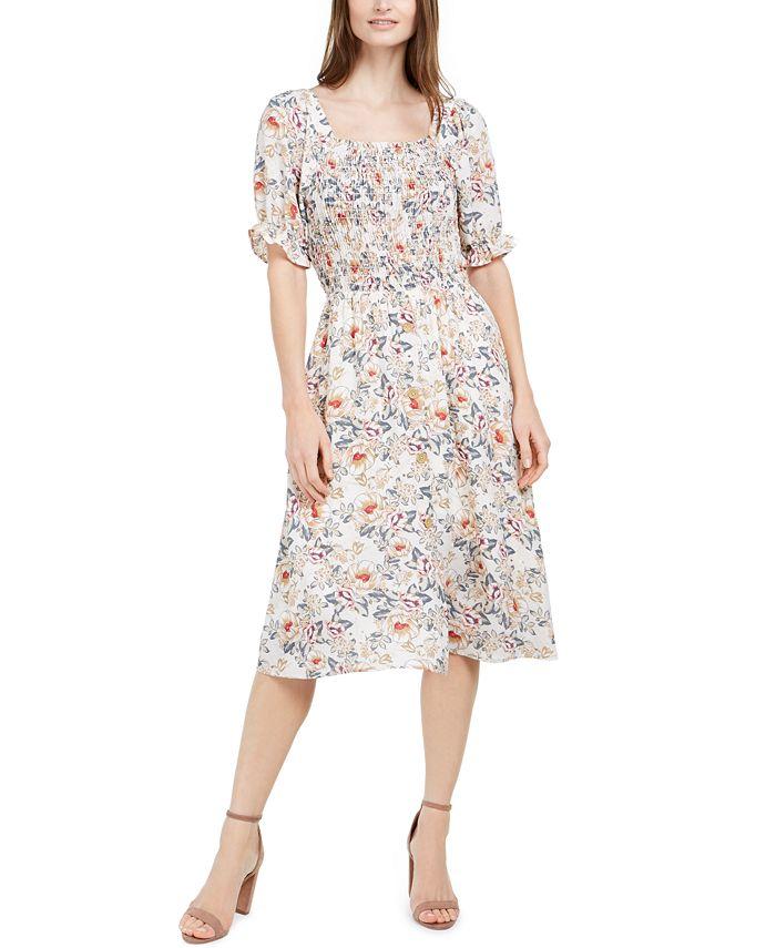 Monteau - Petite Smocked Floral-Print Dress