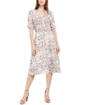 Monteau Petite Smocked Floral-Print Dress