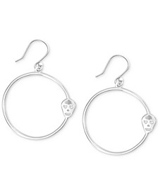 Silver-Tone Skull Drop Hoop Earrings