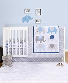 Sleepy Elephant 4-Piece Crib Bedding Set