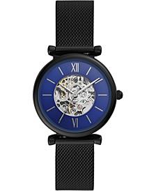 Women's Automatic Carlie Black-Tone Stainless Steel Mesh Bracelet Watch 35mm