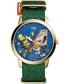 Men's Minimalist Dollar Print Green Nylon Strap Watch 44mm