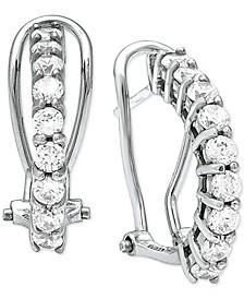 Cubic Zirconia Clutchless Hoop Earrings in Sterling Silver