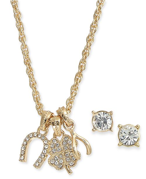 Charter Club Gold-Tone 2-Pc. Set Crystal Lucky Charms Pendant Necklace & Coordinating Solitaire Stud Earrings, Created for Macy's