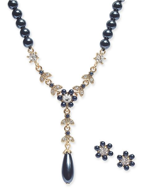 Charter Club Crystal & Imitation Pearl Flower Lariat Necklace & Stud Earrings Set, Created For Macy's