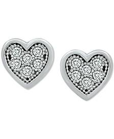 Cubic Zirconia Heart Stud Earrings in Sterling Silver