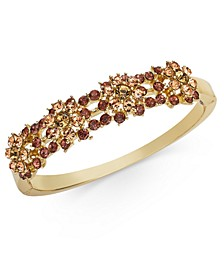 Gold-Tone Crystal Flower Cluster Bangle Bracelet, Created for Macy's