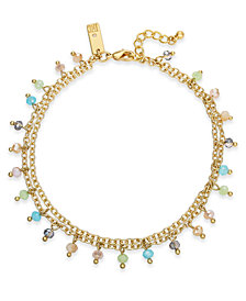 INC Gold-Tone Shaky Bead Double-Chain Ankle Bracelet, Created for Macy's