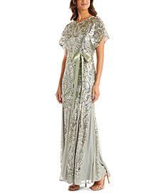 R & M Richards Metallic-Sequin Gown