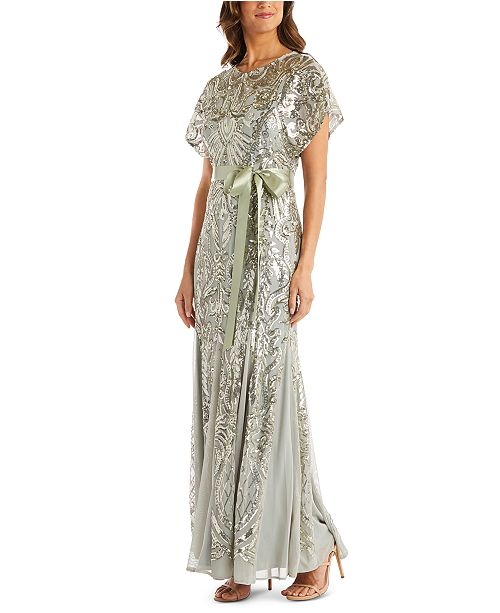 R & M Richards Metallic-Sequin Gown