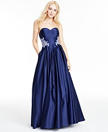 Juniors' Strapless Appliqué Gown