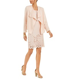 Long-Sleeve Crepe Jacket, Sleeveless Blouse & Lazer-Cut Skirt