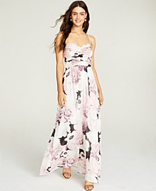 Juniors' Ruched Floral-Print Gown