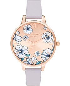 Women's Groovy Blooms Parma Violet Leather Strap Watch 34mm