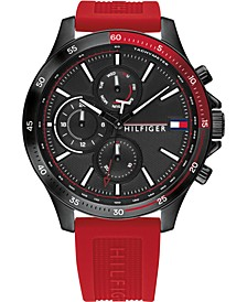Men's Chronograph Red Silicone Strap Watch 46mm, Created for Macy's