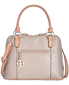 Ostrich-Embossed Dome Satchel, Created for Macy's